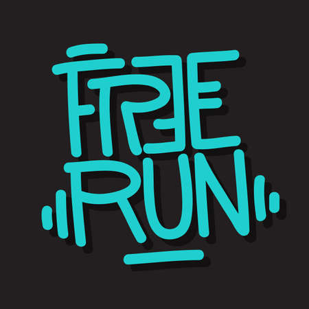 Free Run Brush Lettering Type Design Vector Graphic.