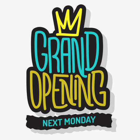 Grand Opening Lettering Type Design Message Vector Graphic.