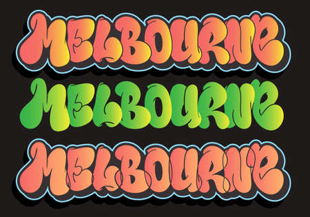 Melbourne Australia Urban Label Sign Hand Drawn Lettering Type Design Throw Up Bubble Graffiti Vector Graphic Illustration