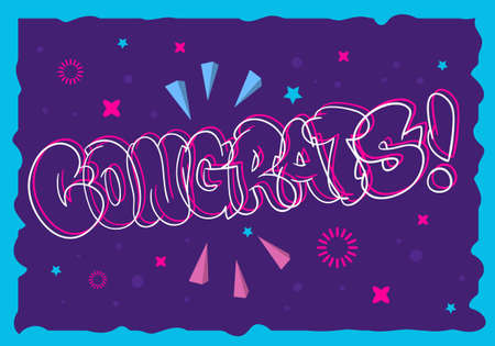 Congratulation Congrats Greeting Card Flyer Poster Hand Drawn  Lettering Type Design Throw Up Bubble Graffiti Vector Graphic