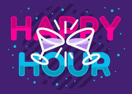Happy Hour Design Pink Sky Blue Purple Colors Vector Graphic.