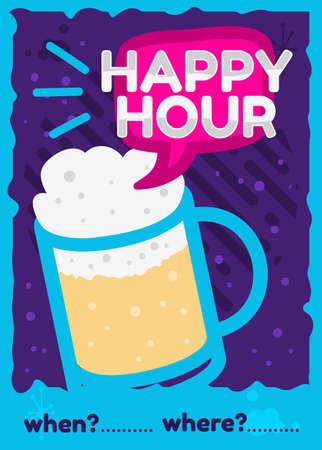 Happy Hour Poster Flyer Design Pink Sky Blue Purple Colors Vector Graphic.