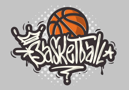 Basketball Themed Hand Drawn Brush Lettering Calligraphy Graffiti Tag Style Type Design Vector Graphic.