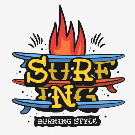 Surf Surfing Themed Vintage Traditional Tattoo Influenced Aesthetic Graphics For Tee Print t shirt Vector Media  イラスト・ベクター素材