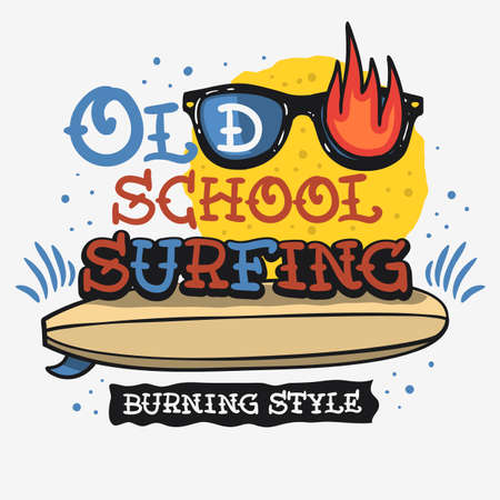 Surf Surfing Themed Vintage Traditional Tattoo Influenced Aesthetic Graphics For Tee Print t shirt Vector Media.