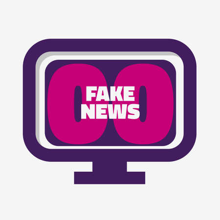 Fake News pc Monitor Screen On A White Background Vector Media.