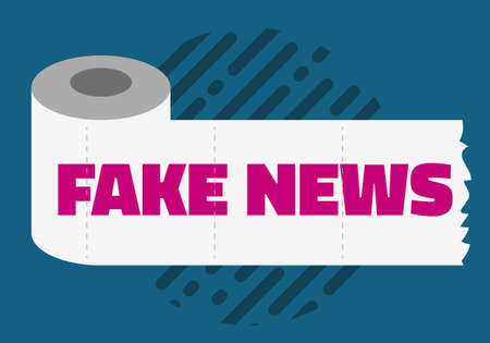 Fake News Conceptual Design Concept With A Toilet Paper Roll Vector Media.