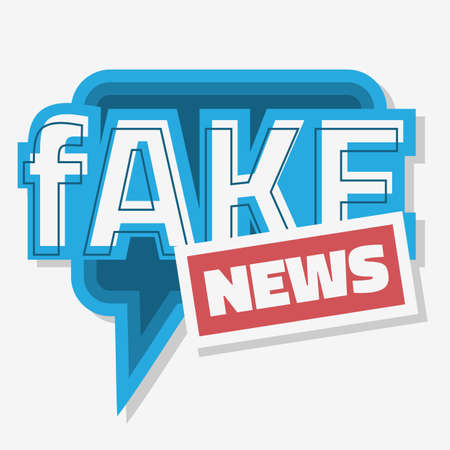 Fake News Typographic Design With Speech Bubble Balloon On A White Background Vector Media.