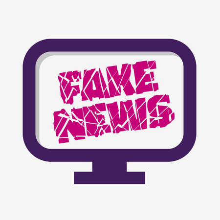 Fake News Broken Design pc Monitor Screen On A White Background Vector Media