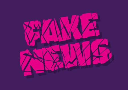 Fake News Broken Typographic Design Vector Media. Ilustração