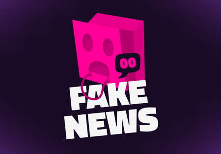 Fake News Conceptual Design Concept With Inverted Pink Paper Shopping Bag With Holes For Eyes And Mouth Over The Head Vector Media Ilustração