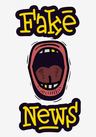 Fake News Screaming Mouth Hand Drawn Doodle Style On A White Background Vector Media.