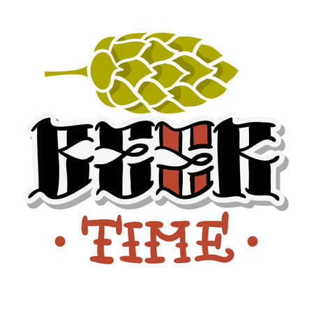 Beer Time Hand Drawn Design With A Hop Illustration On A White Background Vector Graphic. Ilustrace