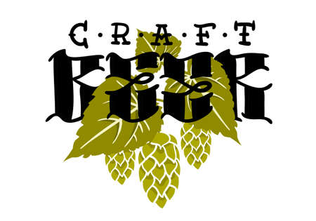 Craft Beer Hand Drawn Design With Hops And Leaves Illustration On A White Background Vector Graphic.