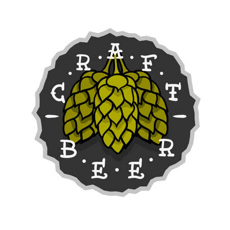 Craft Beer Hand Drawn Design With Hops Illustration On A White Background Vector Graphic
