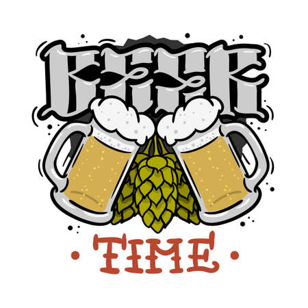 Beer Time Hand Drawn Design For T Shirt Print With Hops And Mugs Of Beer Illustration On A White Background Vector Graphic.