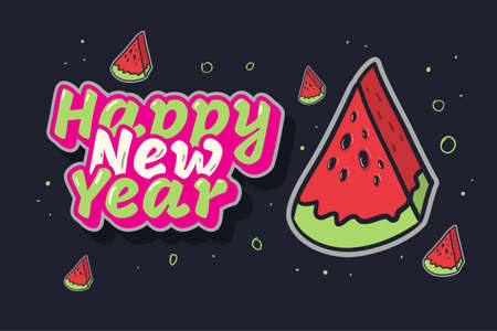 Happy New Year Summer Concept With A Watermelon Fruit illustration Vector Graphic  イラスト・ベクター素材