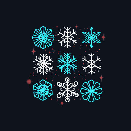 Merry Christmas And Happy New Year Vector Design Snowflakes Collection 向量圖像