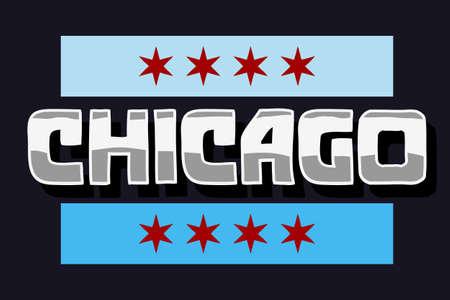 Chicago Typographic Type Design Vector Hand Lettering. 向量圖像