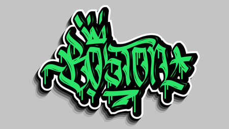 Boston Massachusetts Usa Hand Lettering Graffiti Tag Style Sticker Design. 일러스트