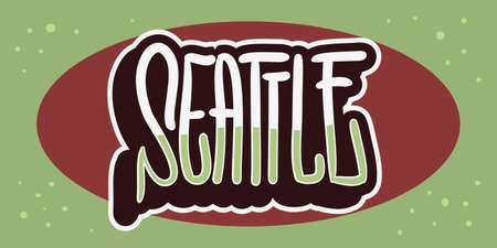 Seattle Washington Usa Hand Drawn Lettering Vector Design.