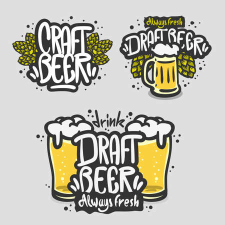 Beer Brew Brewery Alcohol Related Vector Illustrations Designs. Çizim