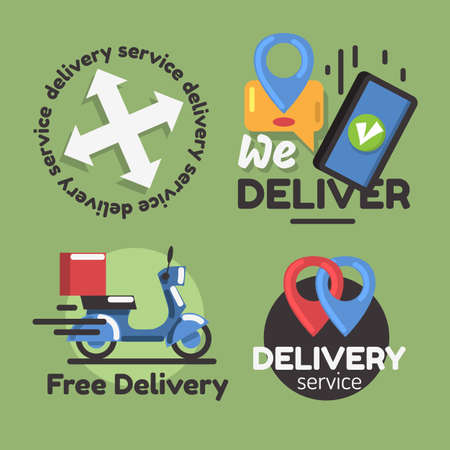 Delivery Online Shopping Related Vector Illustrations Designs