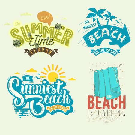 Summer Time Beach Life Hand Lettering Vector Illustrations Set Designs.