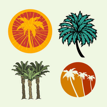 Palm Trees Summer Time Beach Life Hand Lettering Vector Illustrations Set Designs.