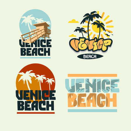 Venice Beach California Summer Time Beach Life Hand Lettering Vector Illustrations Set Designs.