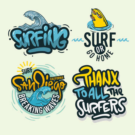 Surfing Style Surf Summer Time Beach Life Hand Lettering Vector Illustrations Set Designs.