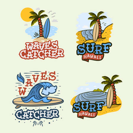 Surfing Style Surf Summer Time Beach Life Traditional Tattoo Influenced Hand Lettering Vector Illustrations Set Designs. Çizim