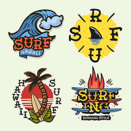 Surfing Style Surf Summer Time Beach Life Traditional Tattoo Influenced Hand Lettering Vector Illustrations Set Designs.