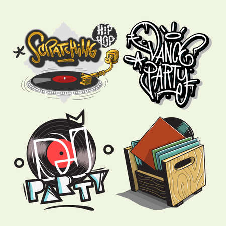 Dj Party Hand Lettering Vector Illustrations Set Designs.