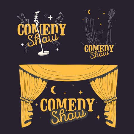 Comedy Show Comedian Hand Lettering Vector Illustrations Set Designs. Illustration