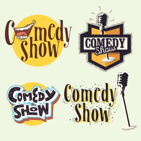 Comedy Show Comedian Hand Lettering Vector Illustrations Set Designs. Çizim