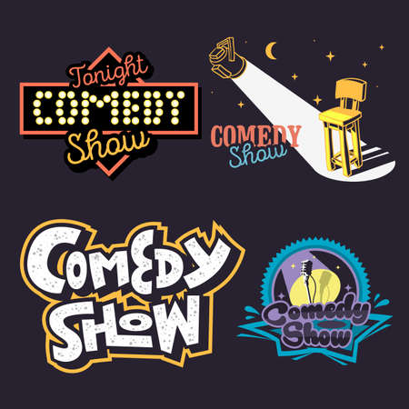 Comedy Show Comedian Hand Lettering  Vector Illustrations Set Designs