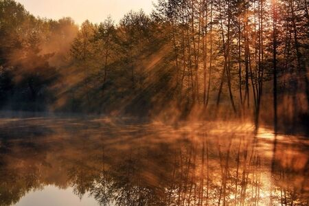 Reflection of the suns rays in the lake photo
