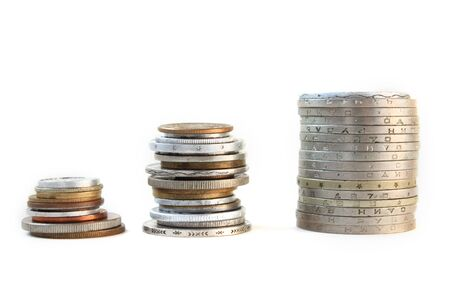 Stacks of coins from different countries Stock Photo - 8518524