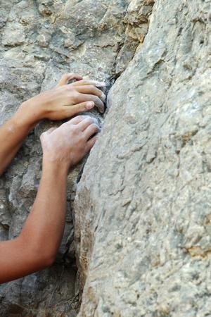 fingers on top: Climbers hands