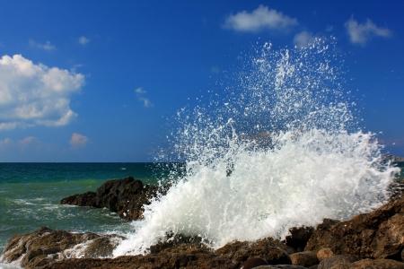 amanecer: Grandes olas romper un día tormentoso