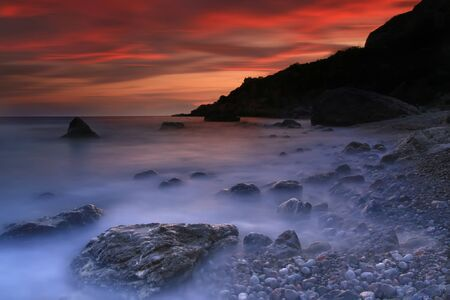 Colorful sunset on the sea photo