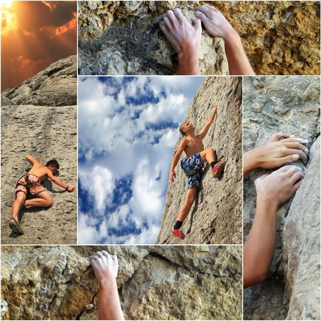 abseiling: Collage of the elements of rock climbing