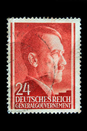nazism: Postage stamp in 1941 with a portrait of Adolf Hitler Editorial