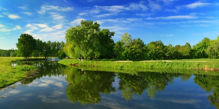 reflection: Reflection of trees in the river at dawn Stock Photo