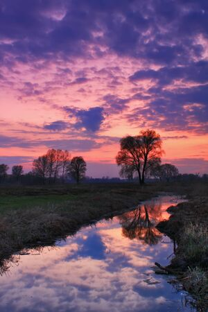Colorful sunrise on the river