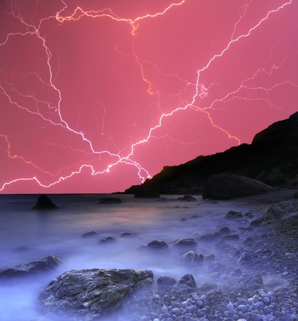 lightnings: Thunderstorm in the ocean