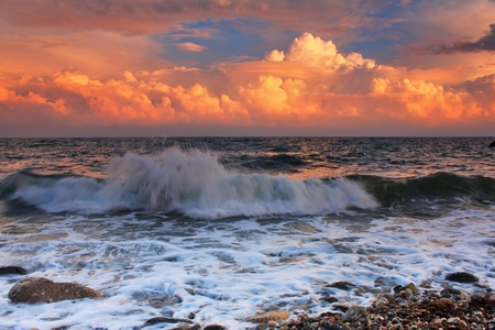 Stormy sunset on a tropical sea Stock Photo