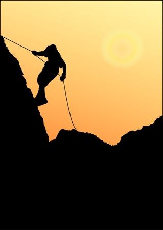 adrenaline: Klimmer op een rotswand Stock Illustratie