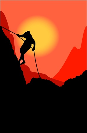 Climber on a rock wall Vector